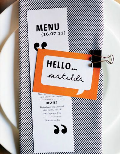 Clever place card + menu. The clip is a cool contemporary touch in comparison to typical tented place cards.