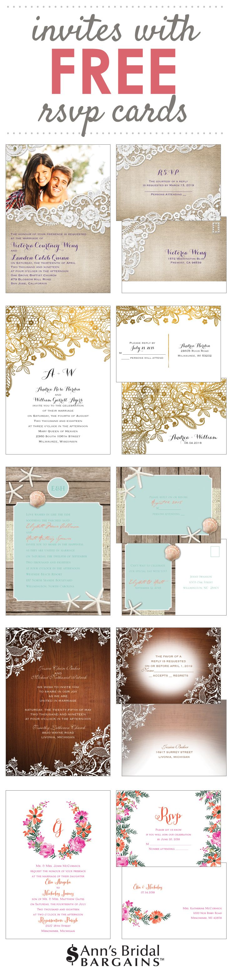 A total budget-saver that's cheaper than DIY: Invitations with free respond postcards.