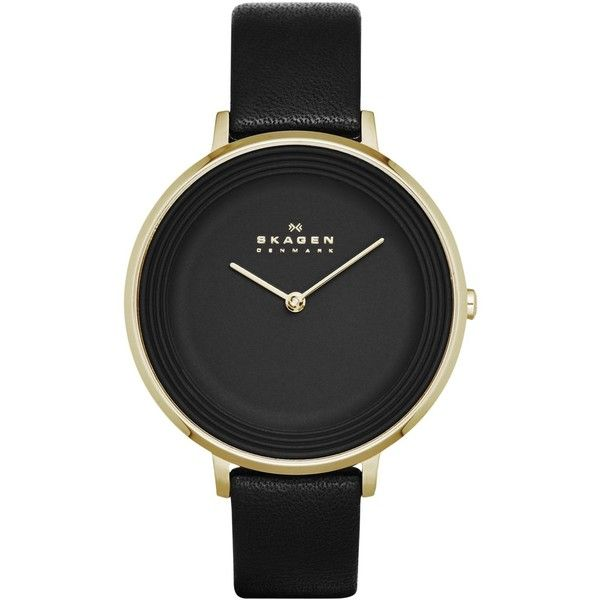 Skagen Women's Ditte Black Leather Strap Watch 30mm SKW2286 - A Macy's... ($145) ❤ liked on Polyvore featuring jewelry, watches, accessories, fillers, relojes, skagen watches, thin watches, skagen wrist watch, skagen jewelry and thin wrist watch