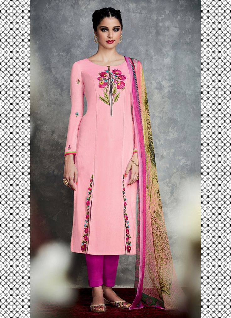 TIMELESS LIGHT PINK FLORAL EMBROIDERED PALAZZO SUIT