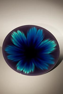 Tokuda Yasokichi III (1933 - 2009) Round plate with glazes in hues of deep purple with blue and green accents in infused kutani glazes, ca. 1995.