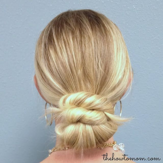 super fast chignon (no bobby pins!) - simple and elegant. Would be a great up-do for holiday parties!