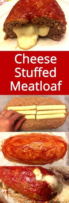 This stuffed meatloaf has a surprise inside! Love this recipe!   MelanieCooks.com