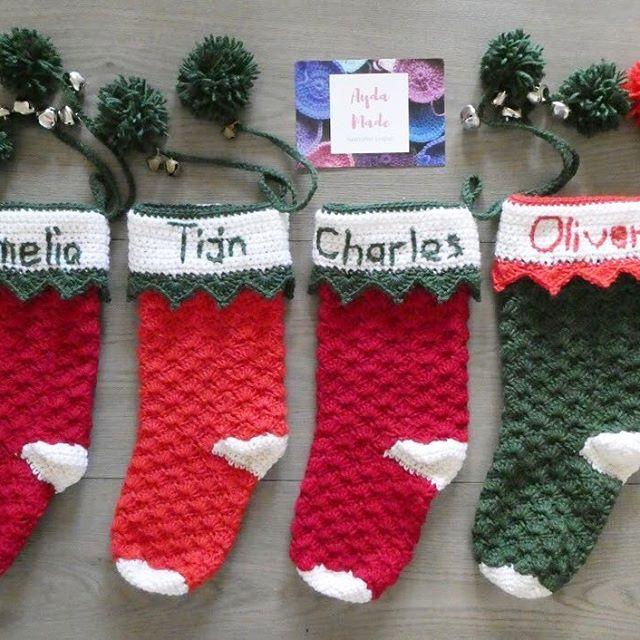 Four Christmas stockings ready for their new homes. .  .  .  .  #aydamade #aydamadecrochet #aydamadepattern #christmas #christmasstocking #crochetstockings #madewithlove #babiesfirstchristmas #christmasgift #christmaspresent #jinglebells #shoplocal #shophandmade #handmadechristmas #sutherlandshire #sydney