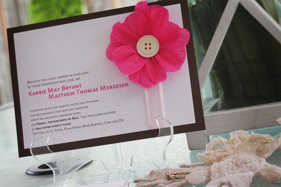 Wedding Invitation  Modern with handmade crepe paper flower