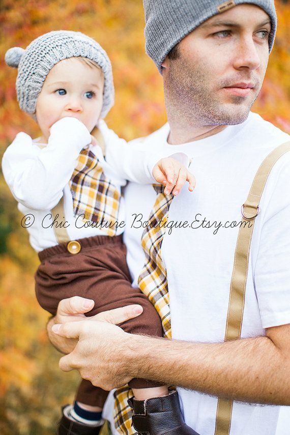 New Tie and Suspenders Dad & Baby Boy Set. Father Son. Thanksgiving Plaid Tan Mustard Yellow Chocolate Brown. Baby's 1st Christmas Holiday. on Etsy, $47.50