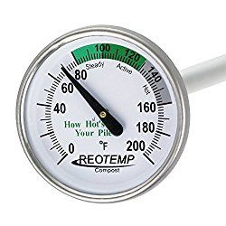REOTEMP Backyard Compost Thermometer – 20″ Stem, with Composting Instructions (Fahrenheit)