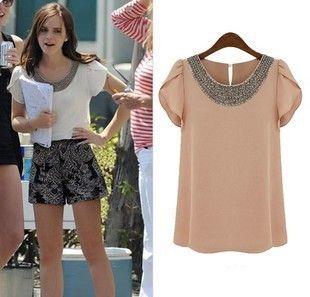 Fashionable loose chiffon shirt Women's handmade beading ruffle sleeve tops summer lady's all-match shirt Free Shipping T8885