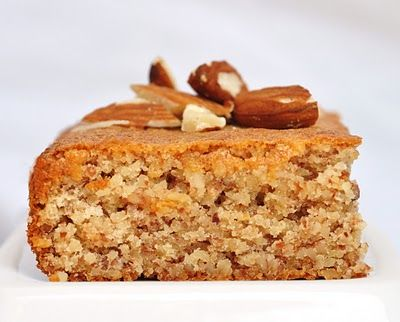 3-ingredient flourless honey almond cake (almonds, honey, eggs)