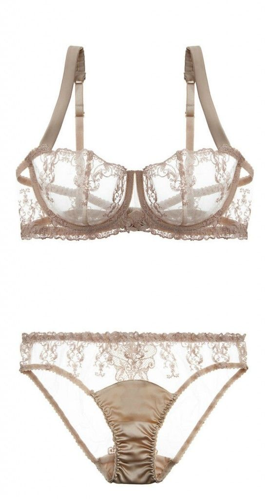 Fleur of England Champagne bra and panty featuring custom embroidery