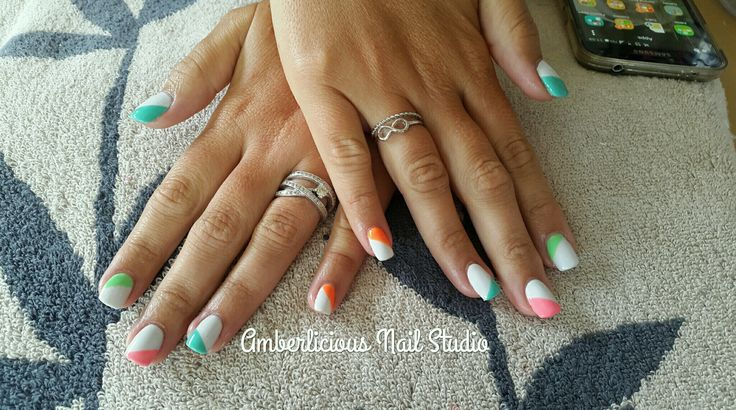 Colourful summer nails. Acrylic. White with bright colours. Nail art.