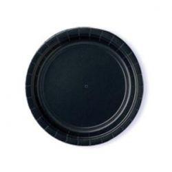 Mustat pienet pahvilautaset ja mukit sekä servetit.