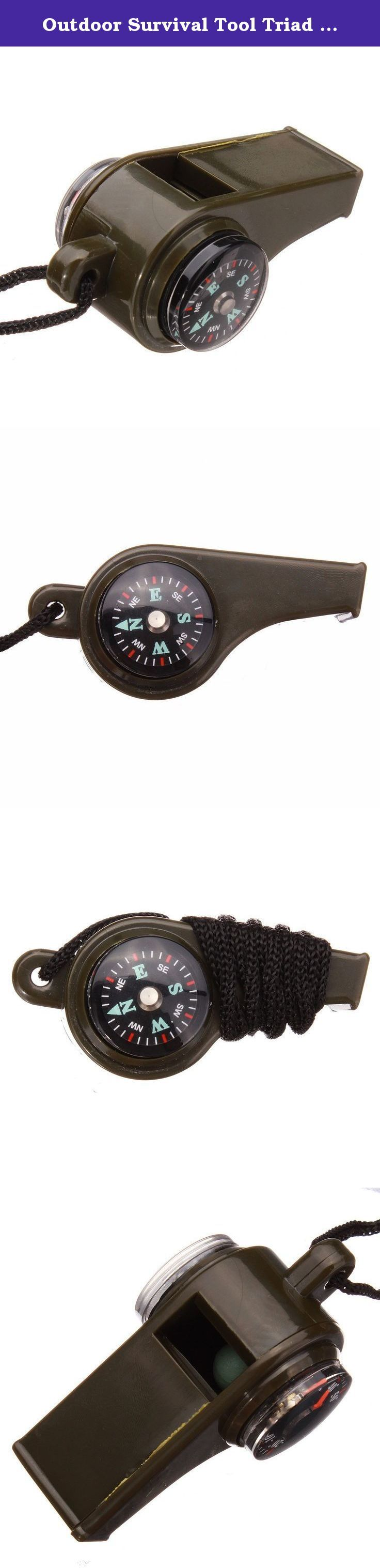 Outdoor Survival Tool Triad Whistle Compass Thermometer With Hang Rope by Double Rainbow. Outdoor Survival Tool Triad Whistle Compass Thermometer With Hang Rope by Double Rainbow.
