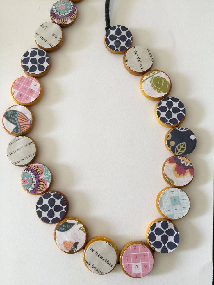Seriously rad-looking unique wooden bead necklace tutorial using your scrapbook paper stash & Mod Modge!