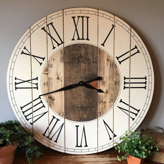 21 Most Unique Wood Home Decor Ideas: 32 Inch Farmhouse Clock, Rustic Wall Clock, Large Wall