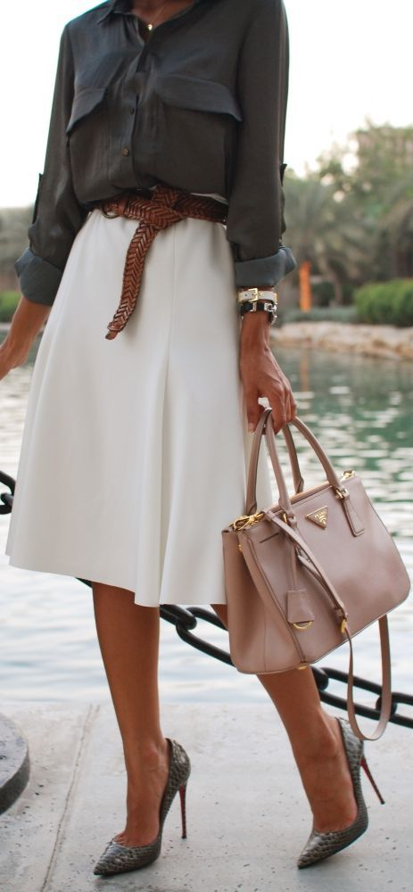 Charcoal grey blouse, white midi skirt, great braided leather belt, pointy-toe pumps