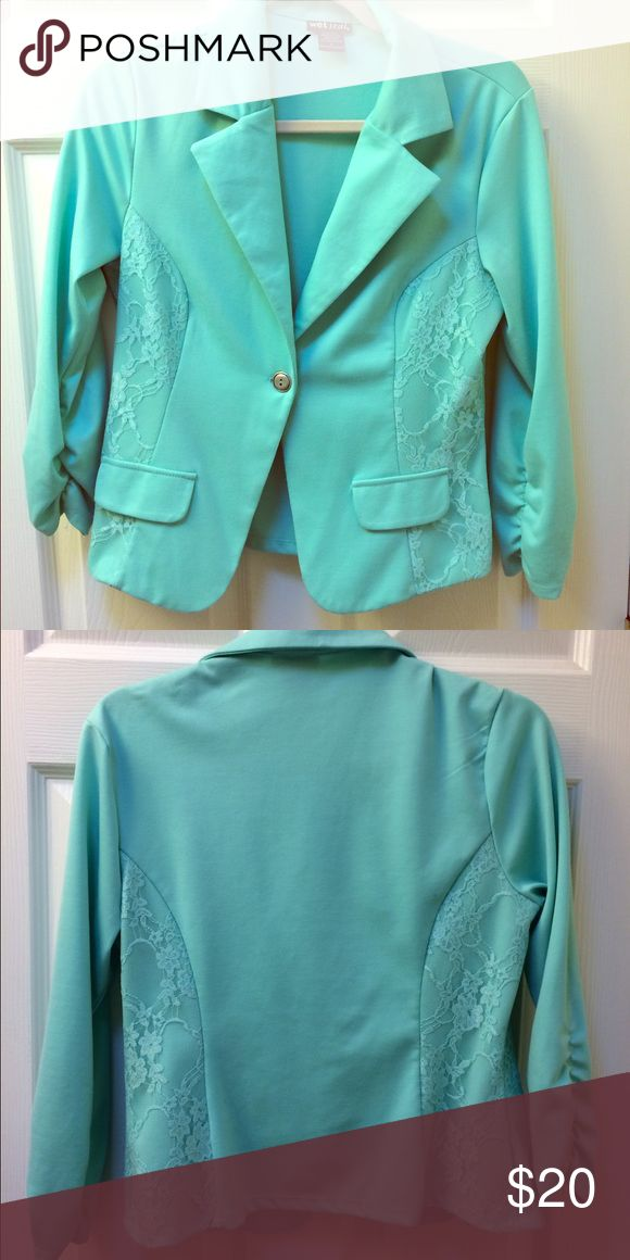 Mint Green Blazer with Lace Detail Wet Seal mint green blazer. Size L, but runs small. Like new. Color of the first photo. Wet Seal Jackets & Coats Blazers