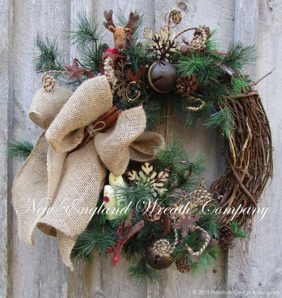 FREE SHIPPING, Christmas Wreath, Holiday Wreath, Country Christmas, Lodge Look, Skiing Wreath, Woodland Wreath, Jingle Bell Door Wreath