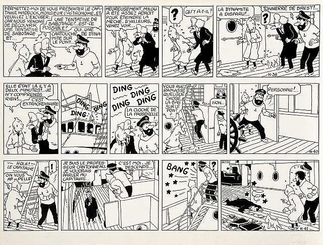 Black and white comic strip from the Tintin album 'L'Etoile Mysterieuse' (The Shooting Star)
