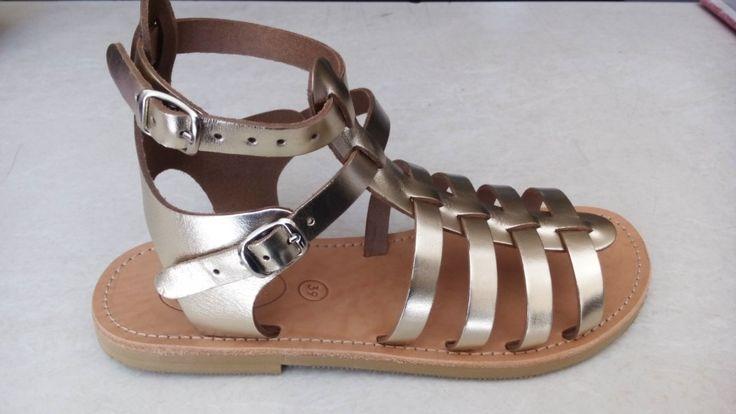 Handmade leather gladiator sandals designed by Elli lyraraki