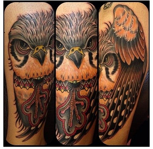 Old school style very detailed massive owl tattoo