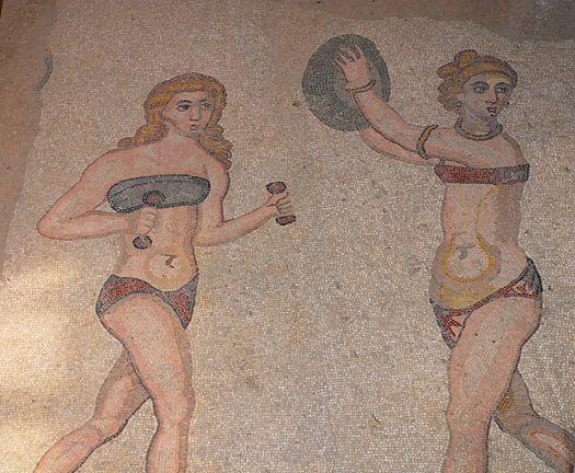 Roman bikini girls exercising on the beach: mosaics from the villa at Piazza Armerina