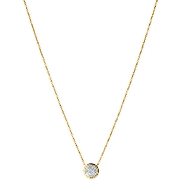 """Links of London Diamond Essentials Pave Round Necklace, 15.3"""" ($325) ❤ liked on Polyvore featuring jewelry, necklaces, yellow gold, diamond jewellery, diamond stud necklace, stud necklace, round diamond necklace and round pendant necklace"""