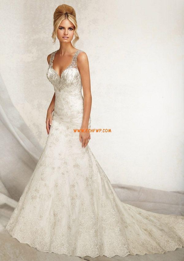 Meerjungfrau-Linie/Mermaid-Stil Elegant & Luxuriös Rückenfrei Brautkleider 2014