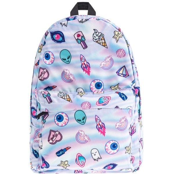 cute patch holo 3D Print who cares Fashion school bags for teenagers... ❤ liked on Polyvore featuring bags, backpacks, rucksack bags, daypack bag, print bags, patch backpack and day pack backpack