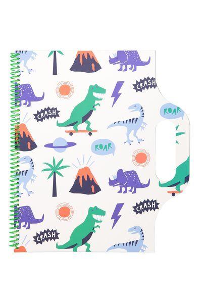 A4 Carry Me Sketch Book, BLUE CRASH ROAR DINOSAUR