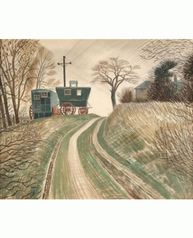 'Caravans' by Eric Ravilious, 1935. (Near a cement works on the South Downs Ravilious discovered two `caravans', originally Boer War fever wagons, which he and his wife Tirzah bought and moved to Furlongs as extra accommodation. Ravilious used one of the caravans as a studio.)