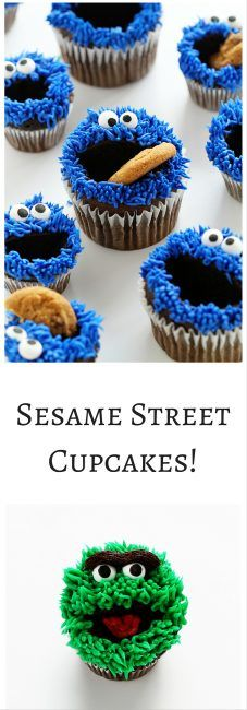 Elmo, Cookie Monster, and Oscar Cupcakes... all with EASY Video tutorial!