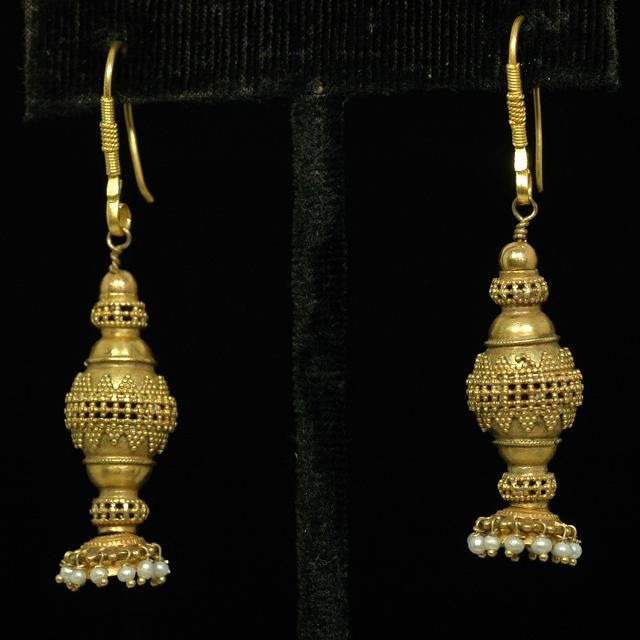 19th century earrings from Gujarat, India, made using antique components, gold…