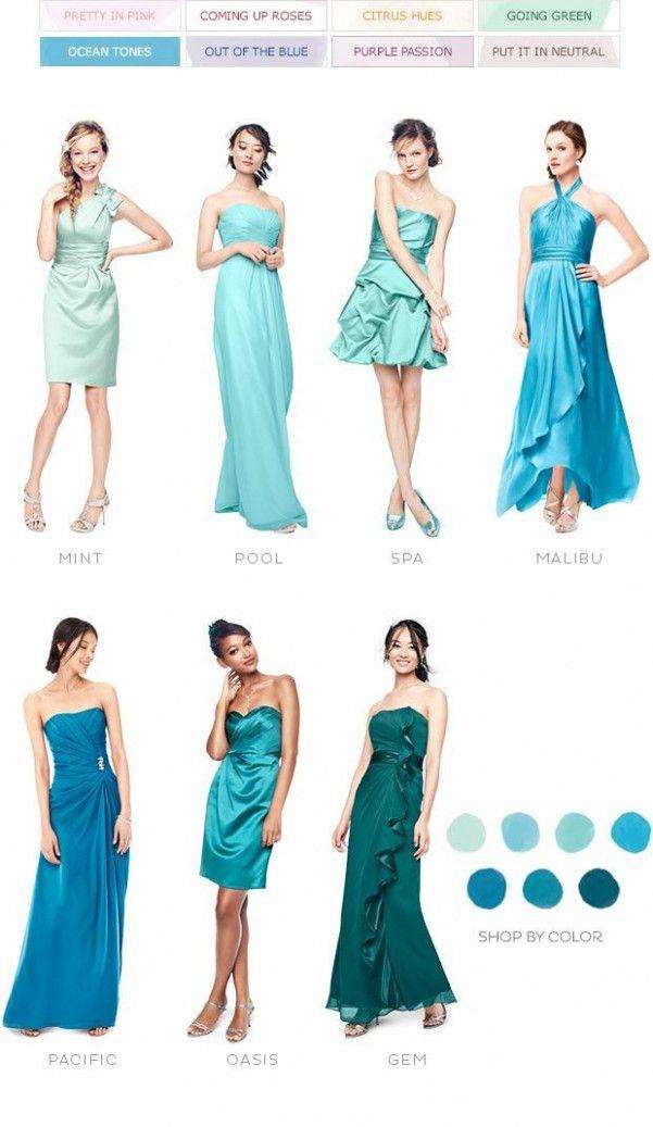 Ocean Blue Wedding Colour Palettes Beach Bridesmaid Dresses
