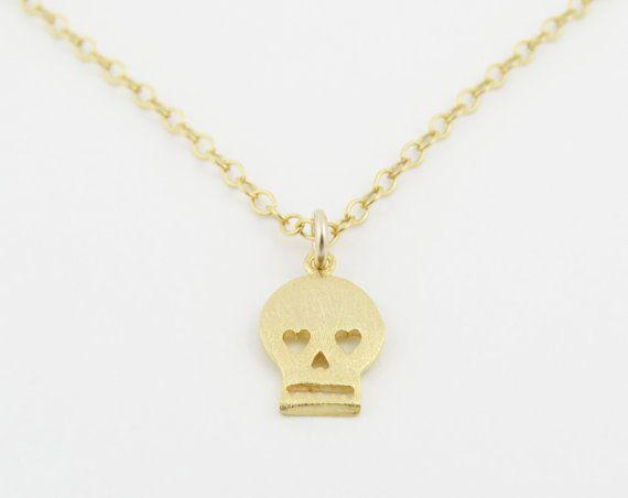 Kleine Gold Skull Halskette Schädel von SweetheartJewelryBox
