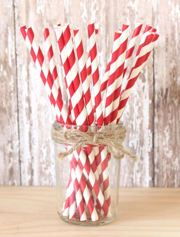 Christmas party paper straws-set of 25- Red striped paper straws,vintage christmas paper straws, christmas parties, holiday parties, by GlitterSaturday on Etsy