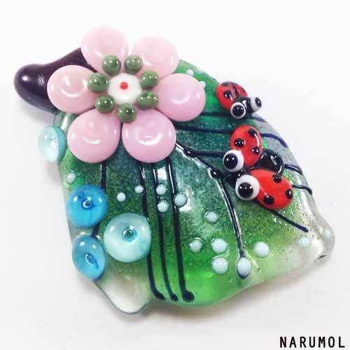 NARUMOL-handmade-lampwork-focal-flower-ladybug-bead-1-SRA-LADYS-LEAF-ebay