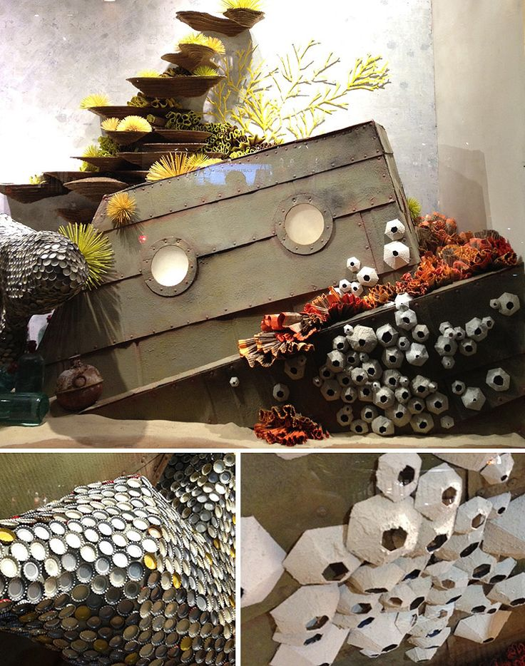 bottle cap whale fin, egg carton barnacles