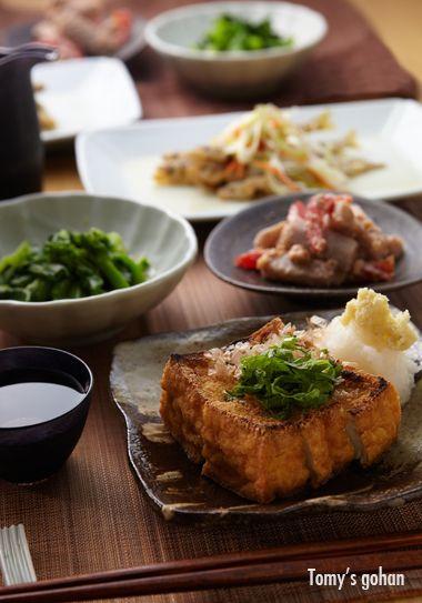 焼き絹揚げの献立とチカの南蛮漬け: Fried tofu and marined white fish