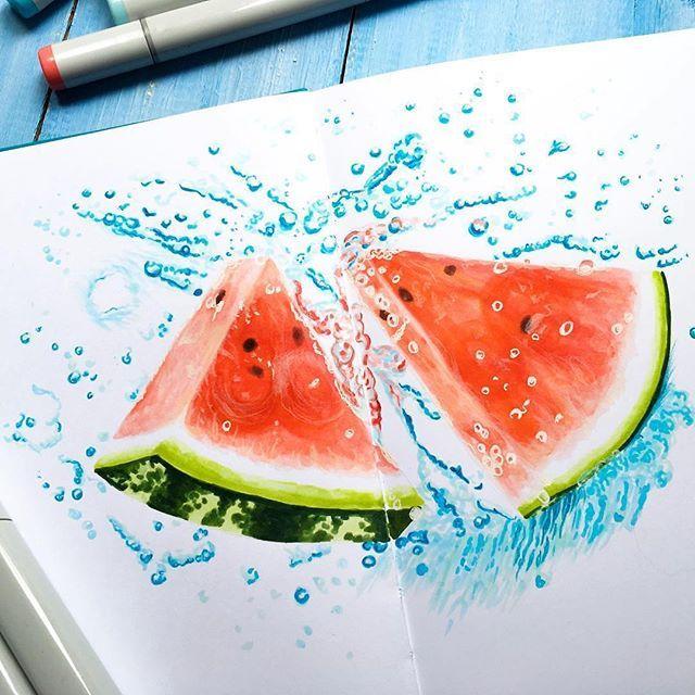 Refreshing watermelon. By @lerikova.art #copicfood