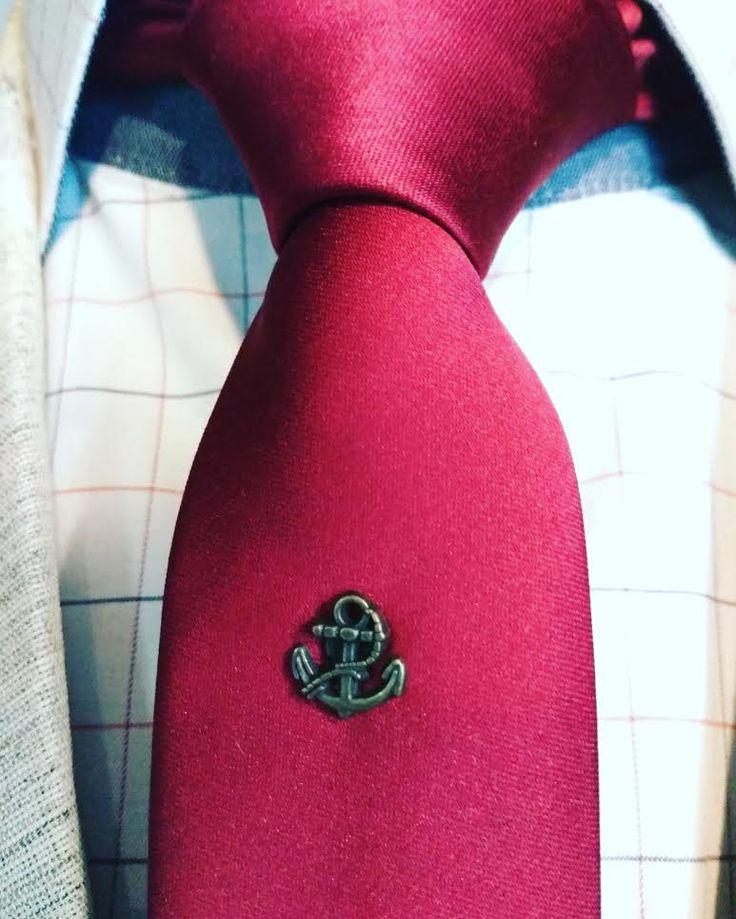 If you run out of tie pins, why not use a lapel pin instead?  #108bespoke #suitaccessories #tiepins #anchor #fashionstyling #suits #accessories #stylingtips #lapelpin #creativethinking #customizedclothing #redtie #dapper #classy #letyourstylebespoken