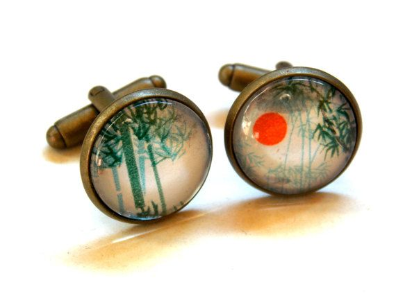 #asian #sun and #bamboo #forest #father #fathersday #daddy father of the #bride #husband #baby #babyboom #new  #cufflinks #cuff #links made of #original #antique #paper #love #gift #statement #graduation #engagement jewelryagnes.etsy.com