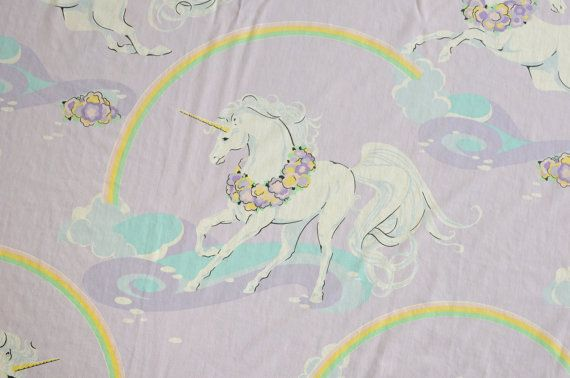 Reserved 80s Vintage Unicorn Rainbow Bed Sheet Fabric
