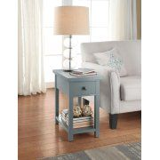 Better Homes and Gardens Oxford Square End Table with Drawer, Blue Image 1 of 9