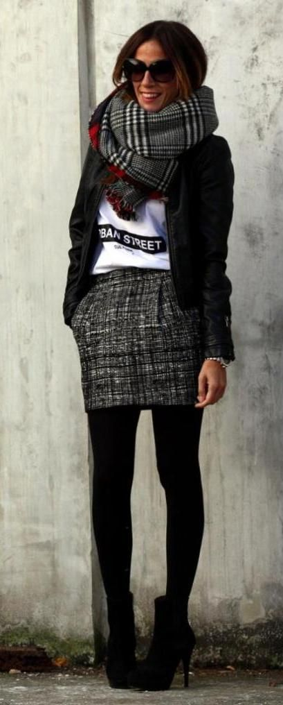 blk leather jacket with red/blk/gry scarf and tweed skirt with black tights, black booties