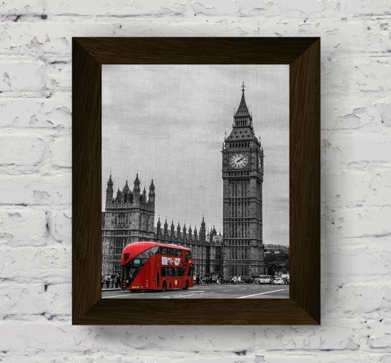 arte della parete di Londra grande ben orologio stampa città