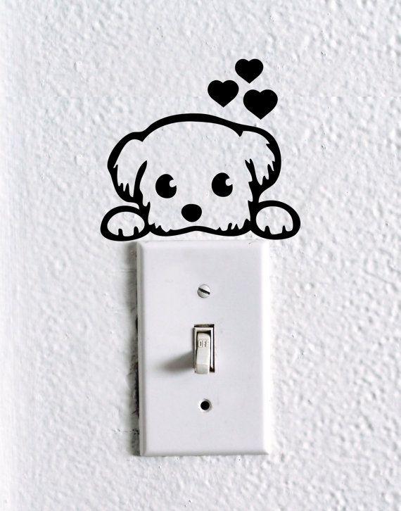 Interruttore carino cane bambino Pet light di dadavinylsanddesigns