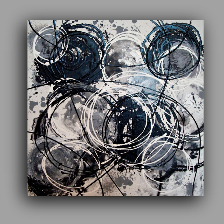 Acrylic painting abstract white noise black and white art Black and white canvas art