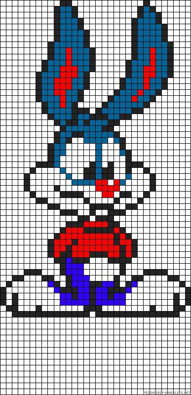 Buster bunny Tiny toons perler bead pattern