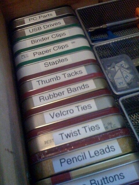 Organize a Junk Drawer with Altoid Tins | 52 Totally Feasible Ways To Organize Your Entire Home